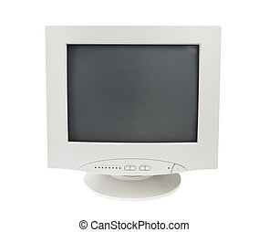 Old Crt Monitor Screen Display for pc isolated white...