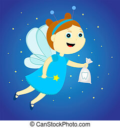 tooth fairy with a bag in his hands