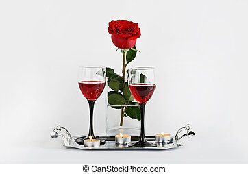 Rose - Red rose, wine and candles on a light background