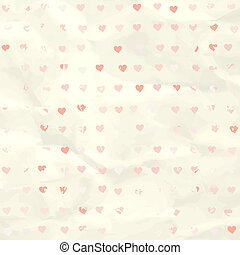 Watercolor heart pattern on paper texture. EPS 8