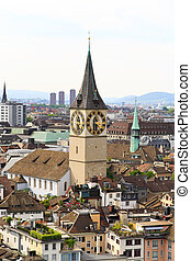 The aerial view of Zurich cityscape from the tower of famous...