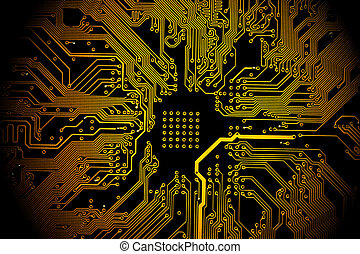 Printed circuit board - High technology background - yellow...