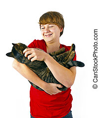 cute boy hugging with his cat - cute boy hugging with his...