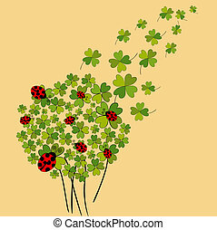 Lucky spring clover - Clover and ladybugs spring background....