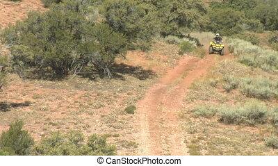 single ATV rider in desert