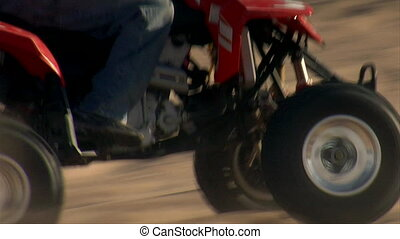 close-up on ATV wheels through sand