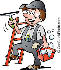 illustration of an Window Cleaner - Hand-drawn Vector...