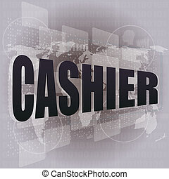 touch screen interface with cashier word