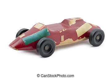 wooden race car - Old wooden race car isolated in a white...