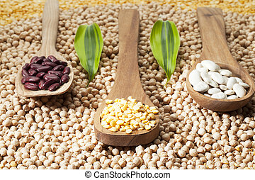 wooden spatula and food grains - Close-up shot of wooden...