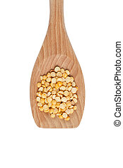 wooden spoon with lentils