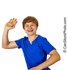 happy joyful boy gives sign
