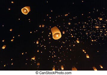 Fire lantern festival - Fire lantern launching during loy...
