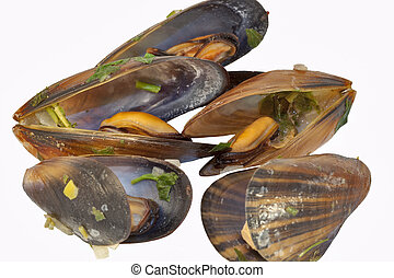 cooked mussels - mussels cooked in the shell with herbs,...
