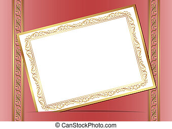 invitation card on red background with gold ornaments