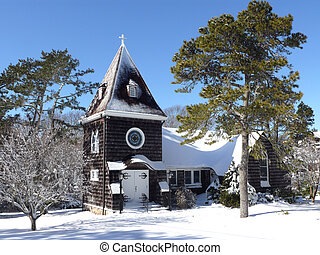 winter church - a old church on Cape Cod after a snow storm