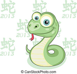 Snake Year - Funny cartoon snake isolated 2013 Snake Year...
