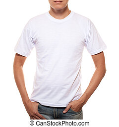 White t-shirt on a young man template isolated on white...
