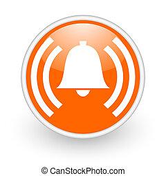 alarm orange circle glossy web icon on white background