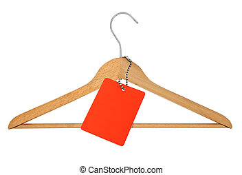 coat hanger and blank price tag on white