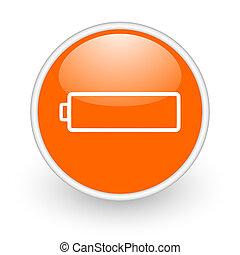 battery orange circle glossy web icon on white background