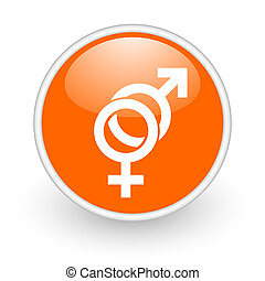 sex orange circle glossy web icon on white background