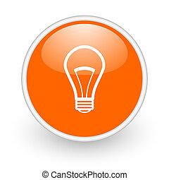 light bulb orange circle glossy web icon on white background...