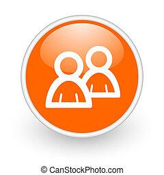 forum orange circle glossy web icon on white background