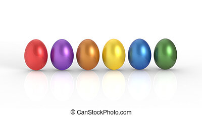 Colored Eggs - Colored eggs in a row on a white background.