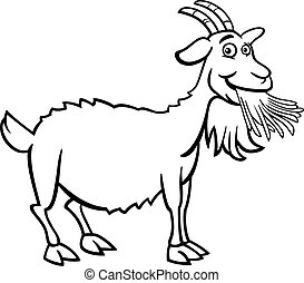 farm goat cartoon for coloring book - Black and White...