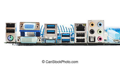 Motherboard ports - Ports on motherboard isolated over white...