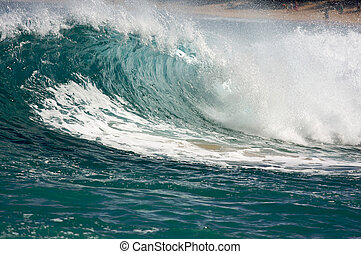 Dramatic Shorebreak Wave on a clear morning