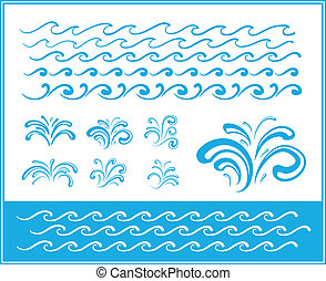 Set of wave symbols for design - Set of wave symbols and...