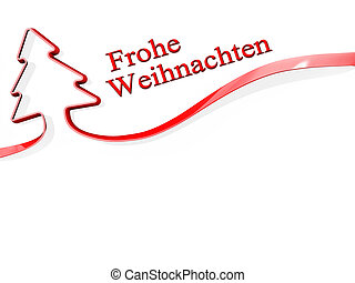Christmas Tree Ribbon merry Christmas German Language - Red...