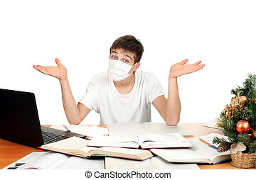 Student In Flu Mask - Student in flu mask spread his arms at...