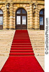 Red carpet - red carpet leading up the stairs