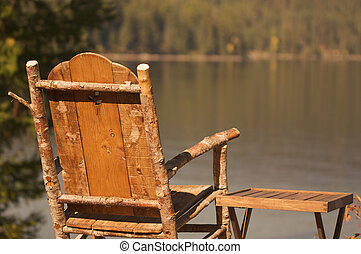 Tranquil Morning Lake Scene with Chair and Table