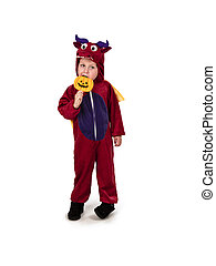yummy lollipop - Small kid in red dragon outfit enjoying...