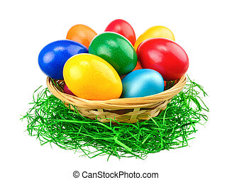 Colorful Easter eggs isolation