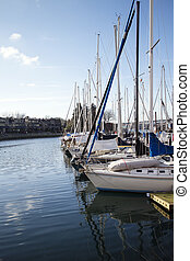 sailboats at false creek pier - some sailboats at false...