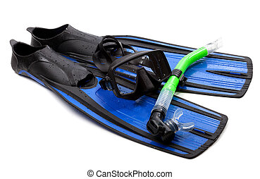 Mask, snorkel and flippers with water drops. Diving gear on white background.