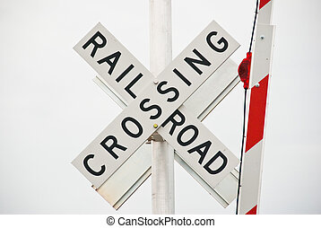 Rail Road Crossing Sign - Railroad crossing sign with gate...