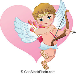 Cute Cupid with heart shape Angel Valentines Day