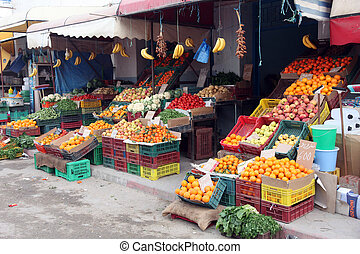 Vegetable market - Fresh fruits and vegetables on a...