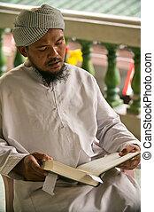 Muslim Man, Bangkok - Inside Muslim Mosque in Bangkok City,...