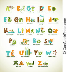 Ecology green alphabet with collection of vector elements -...