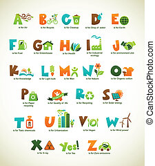 Ecology green alphabet with collection of vector elements