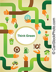 Ecology - Think green background with hands and graphic symbol