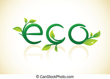 Eco - think green symbol with leafs