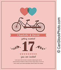 Valentines card with tandem bicycle - retro style Valentines...